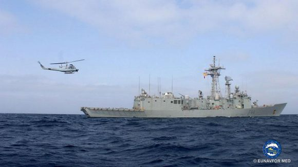 "The Spanish frigate ""Canarias"" concludes her Operation SOPHIA deployment. Welcome on board to her sister ship ""Victoria"""