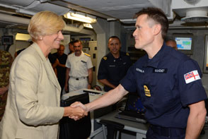 Italian Minister of Defense Roberta Pinotti visits Force Command Headquarters onboard ITS Cavour