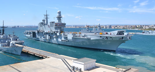 EUNAVFOR MED Flagship ITS Cavour in operation