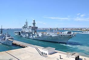 Flag Ship Cavour leaves harbour