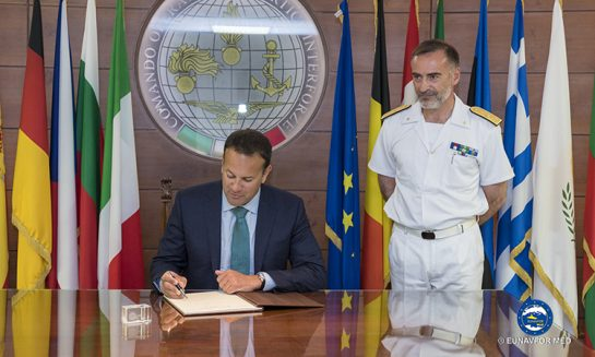 The Prime Minister of the Republic of Ireland visits EUNAVFOR MED Operation Sophia's Headquarters